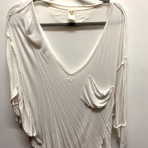 free people slouchy white top